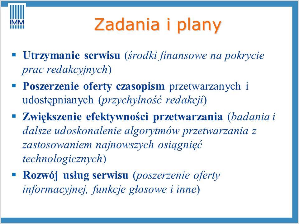 Zadania i plany Utrzymanie serwisu (środki finansowe na pokrycie prac redakcyjnych)