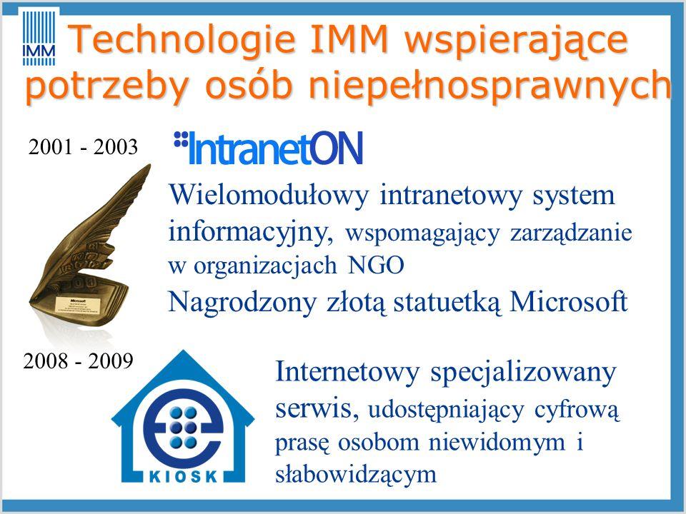 Technologie IMM wspierające potrzeby osób niepełnosprawnych