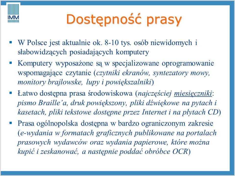 Dostępność prasyW Polsce jest aktualnie ok. 8-10 tys. osób niewidomych i słabowidzących posiadających komputery.