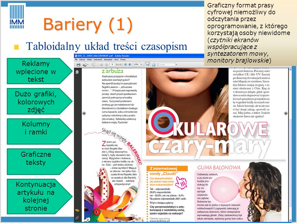 Bariery (1) Tabloidalny układ treści czasopism