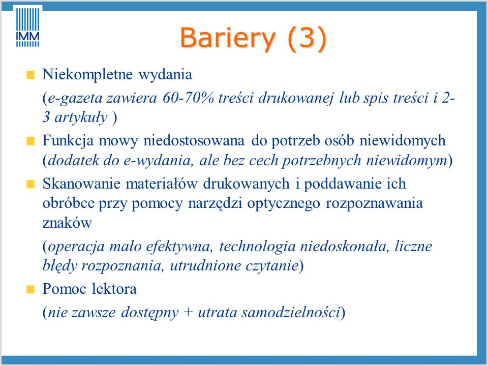 Bariery (3) Niekompletne wydania