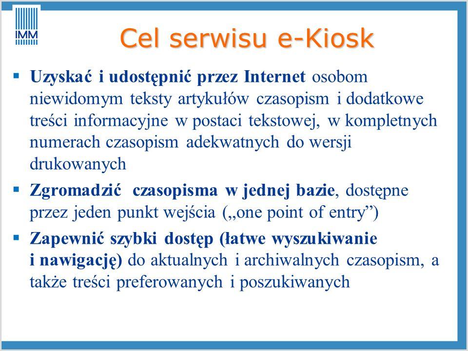 Cel serwisu e-Kiosk
