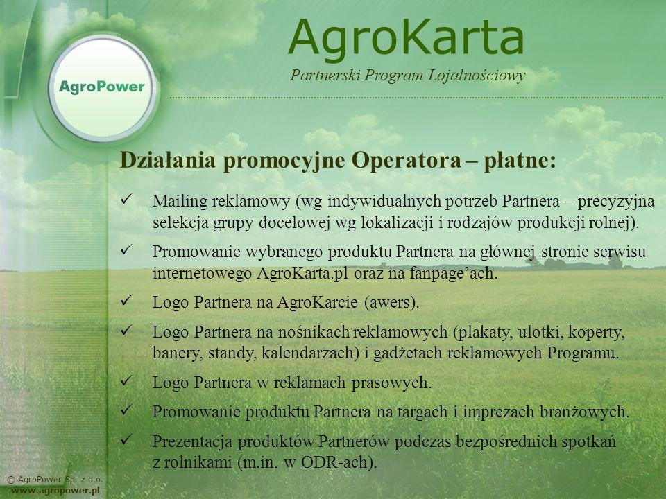 AgroKarta Działania promocyjne Operatora – płatne: