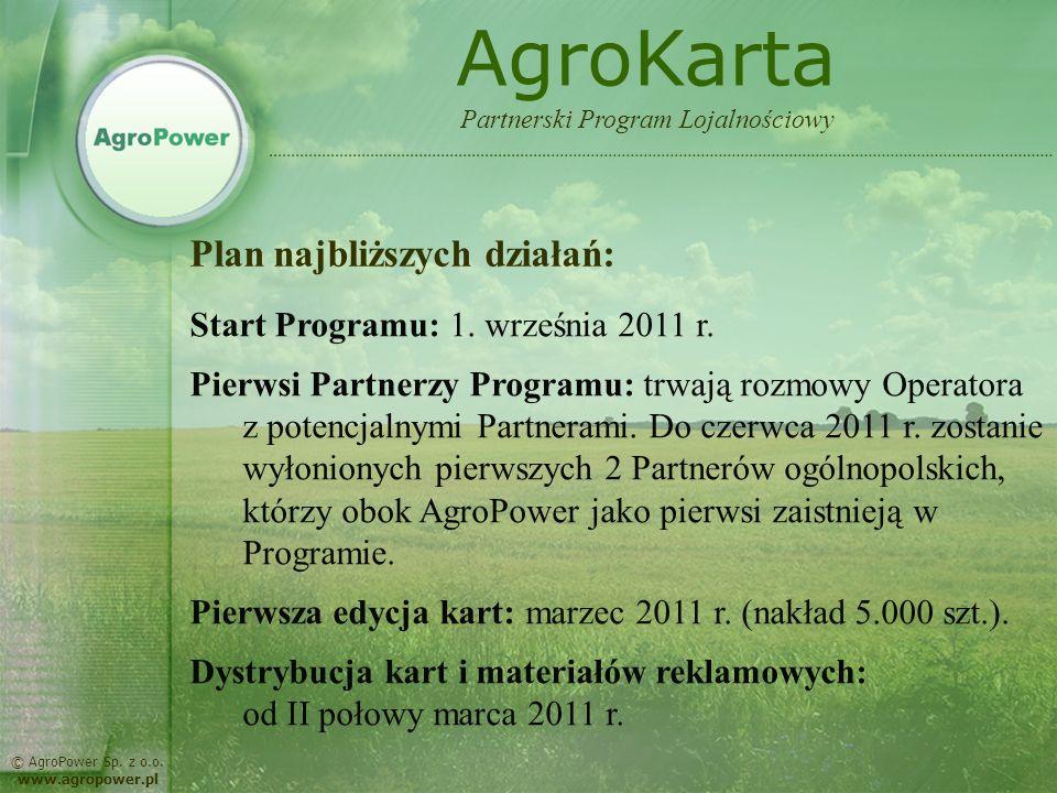 AgroKarta Plan najbliższych działań: