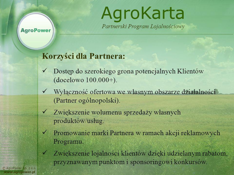 AgroKarta Korzyści dla Partnera:
