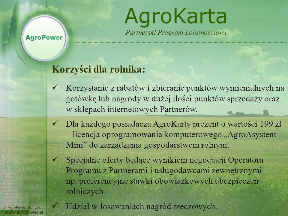 AgroKarta Korzyści dla rolnika: