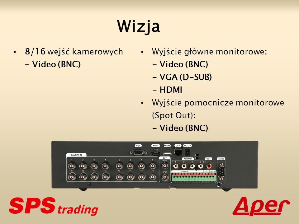 Wizja 8/16 wejść kamerowych - Video (BNC) Wyjście główne monitorowe: