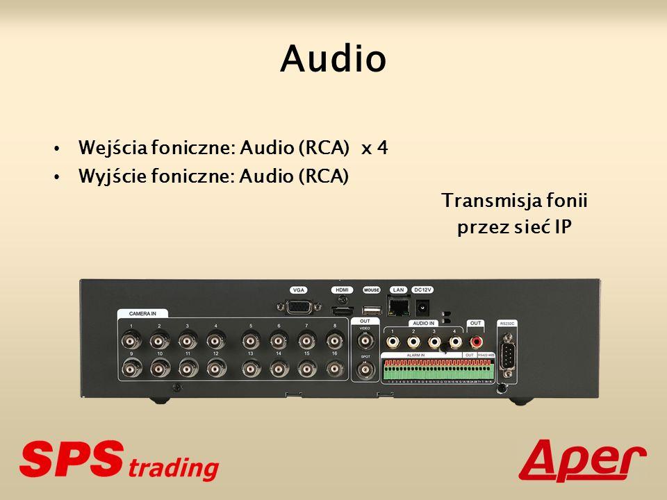 Audio Wejścia foniczne: Audio (RCA) x 4 Wyjście foniczne: Audio (RCA)
