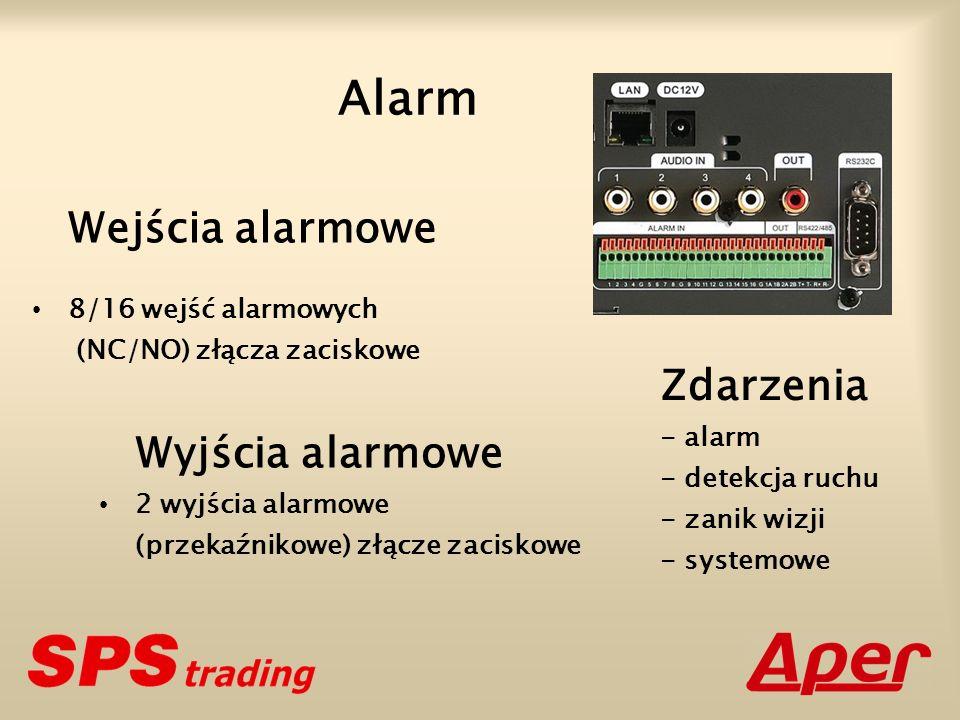 Alarm Wejścia alarmowe 8/16 wejść alarmowych (NC/NO) złącza zaciskowe