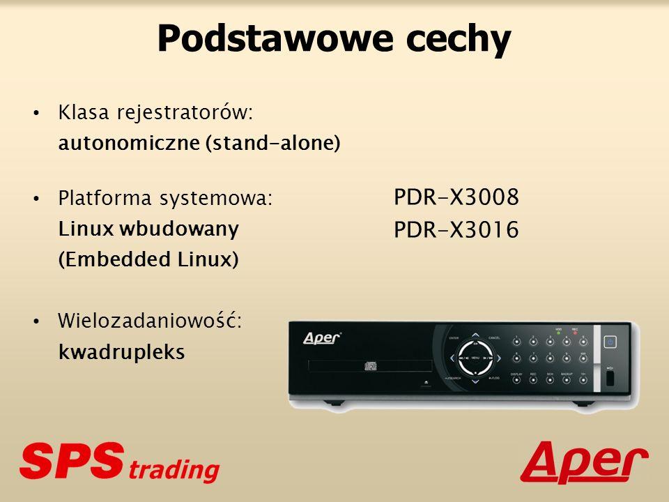 Podstawowe cechy PDR-X3008 PDR-X3016 Klasa rejestratorów: