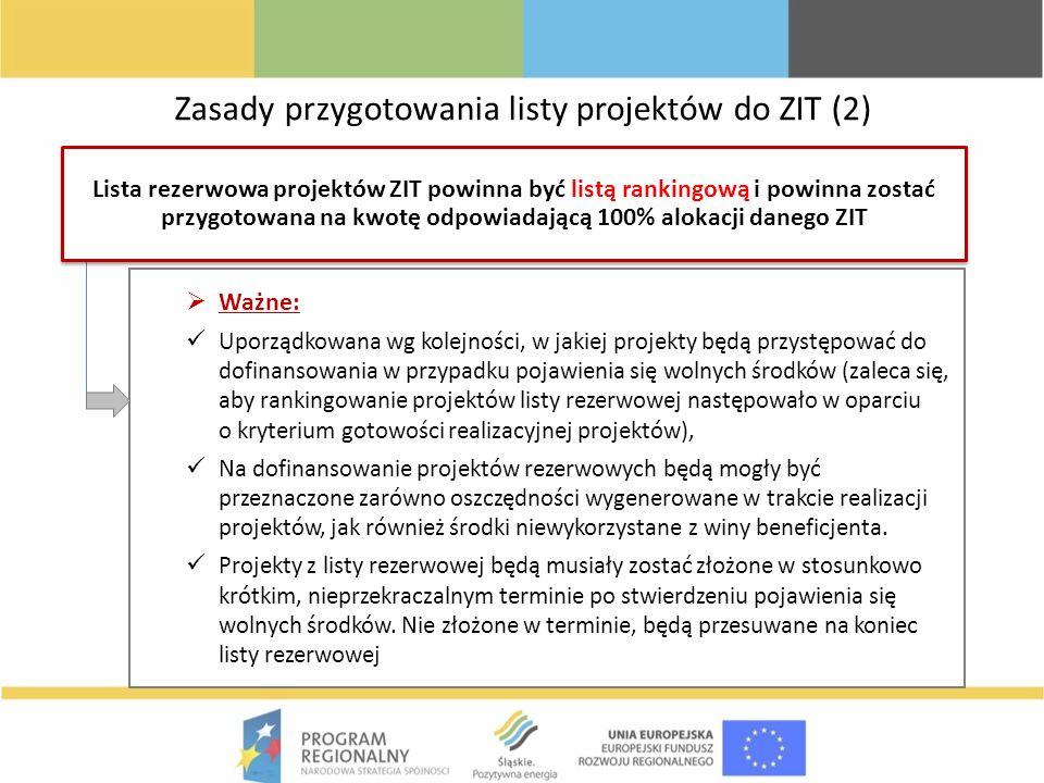 Zasady przygotowania listy projektów do ZIT (2)