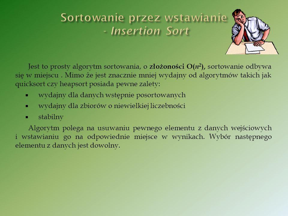 Sortowanie przez wstawianie - Insertion Sort