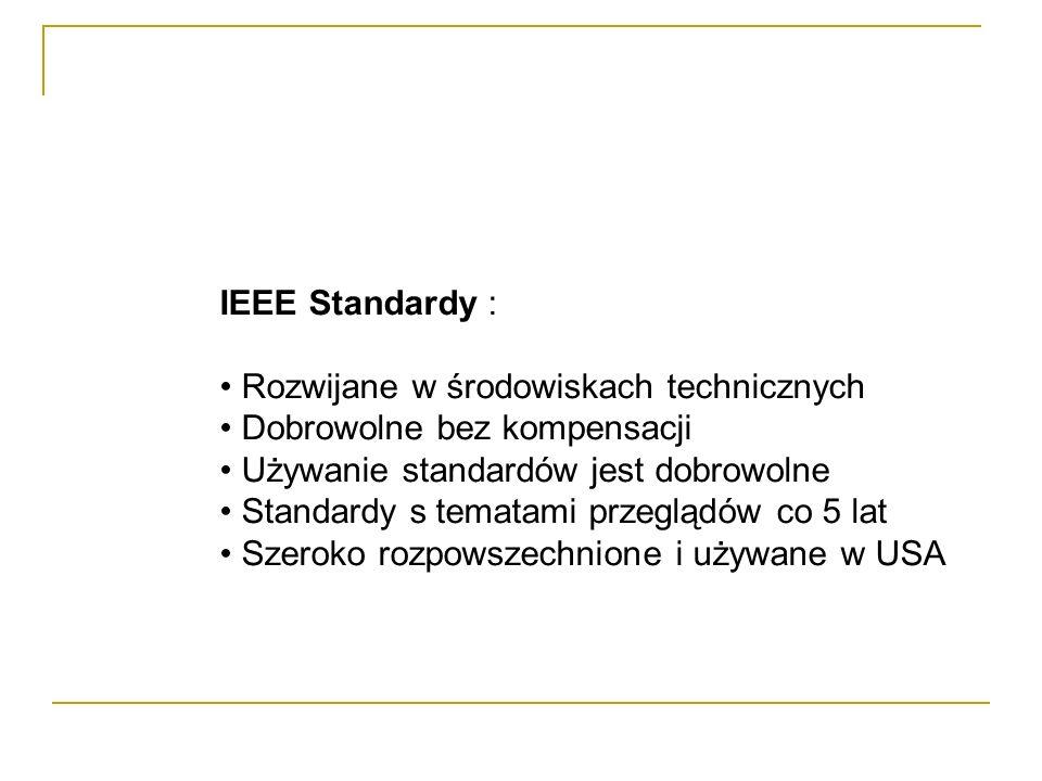 IEEE Standardy : Rozwijane w środowiskach technicznych. Dobrowolne bez kompensacji. Używanie standardów jest dobrowolne.