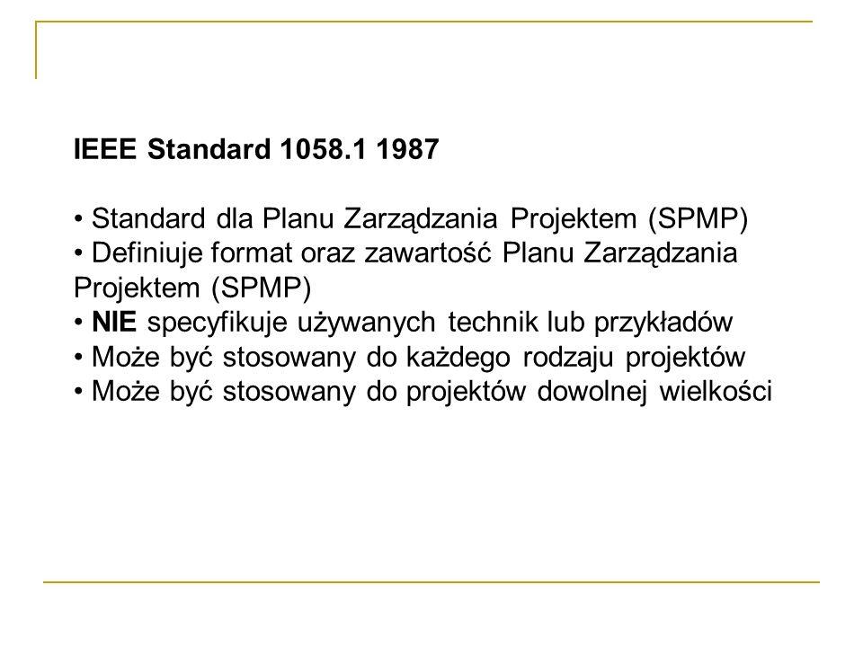 IEEE Standard 1058.1 1987 Standard dla Planu Zarządzania Projektem (SPMP) Definiuje format oraz zawartość Planu Zarządzania Projektem (SPMP)