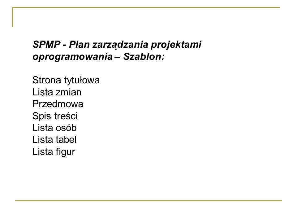 SPMP - Plan zarządzania projektami oprogramowania – Szablon: