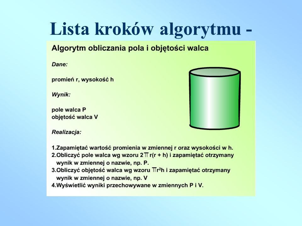 Lista kroków algorytmu - przykład