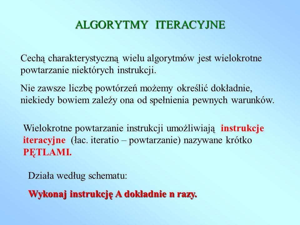 ALGORYTMY ITERACYJNE Cechą charakterystyczną wielu algorytmów jest wielokrotne powtarzanie niektórych instrukcji.