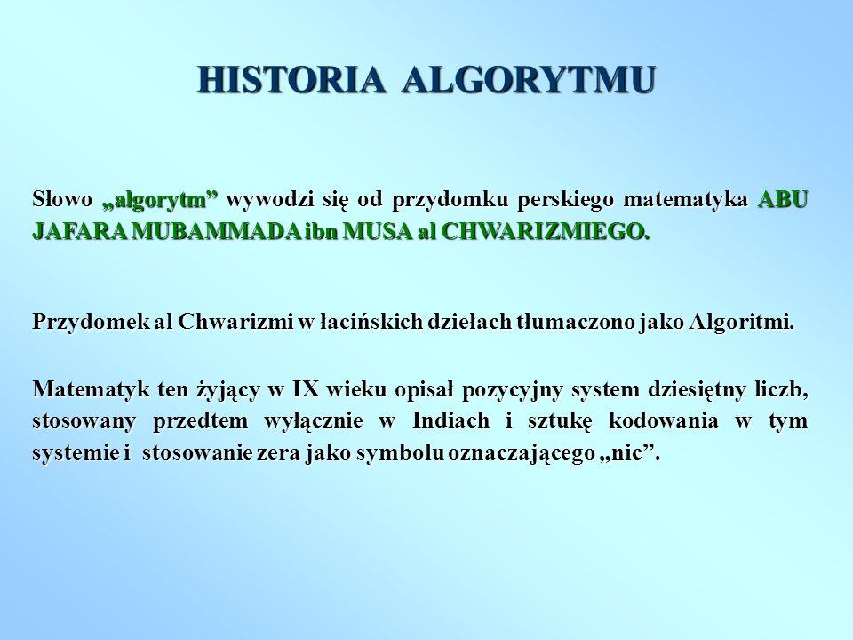 """HISTORIA ALGORYTMU Słowo """"algorytm wywodzi się od przydomku perskiego matematyka ABU JAFARA MUBAMMADA ibn MUSA al CHWARIZMIEGO."""
