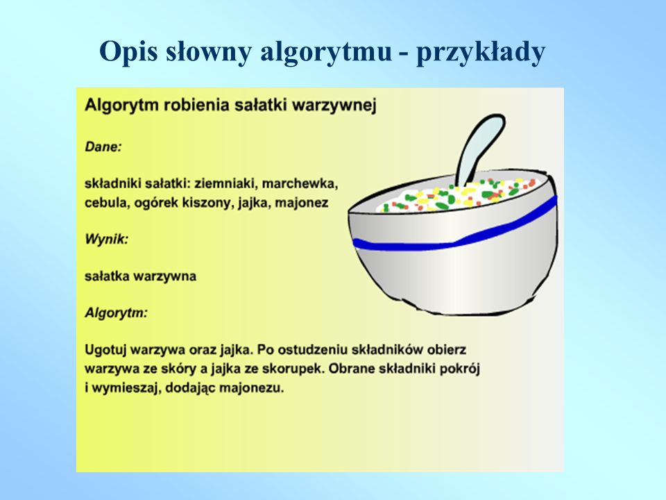 Opis słowny algorytmu - przykłady