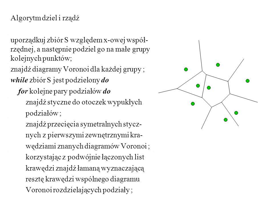 Algorytm dziel i rządź uporządkuj zbiór S względem x-owej współ-rzędnej, a następnie podziel go na małe grupy kolejnych punktów;