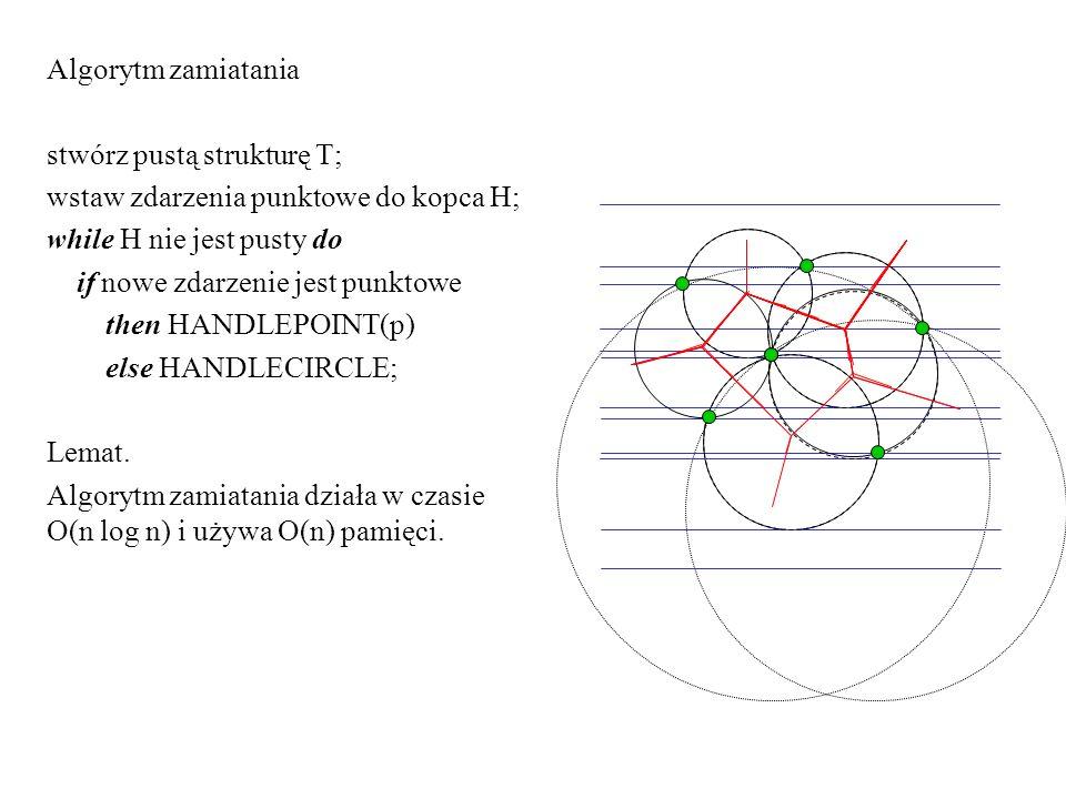 Algorytm zamiatania stwórz pustą strukturę T; wstaw zdarzenia punktowe do kopca H; while H nie jest pusty do.