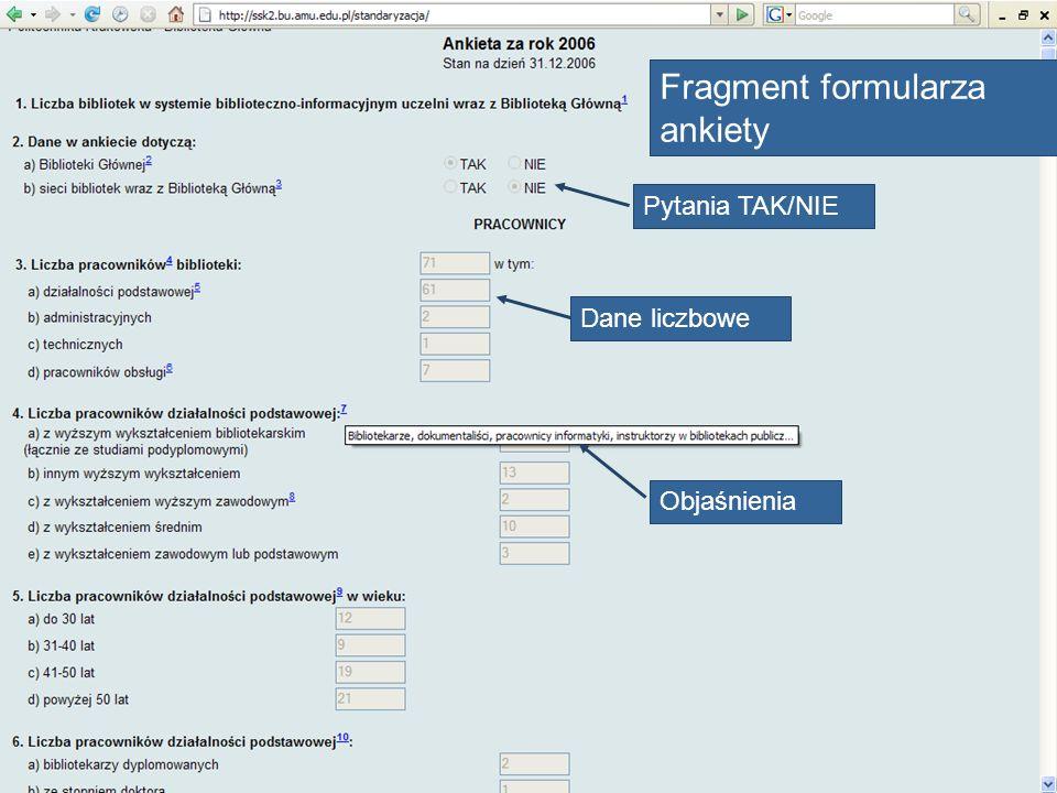 Fragment formularza ankiety