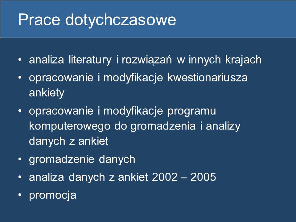 Prace dotychczasowe analiza literatury i rozwiązań w innych krajach