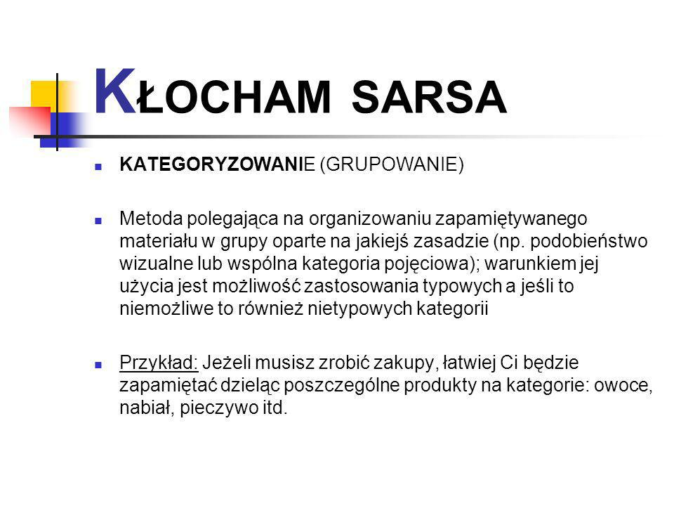KŁOCHAM SARSA KATEGORYZOWANIE (GRUPOWANIE)