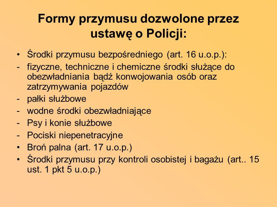 Formy przymusu dozwolone przez ustawę o Policji: