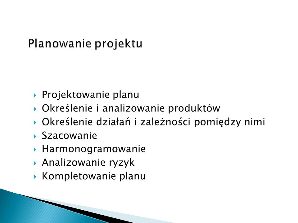 Planowanie projektu Projektowanie planu