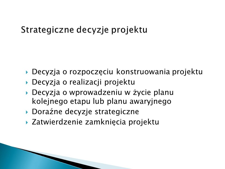 Strategiczne decyzje projektu