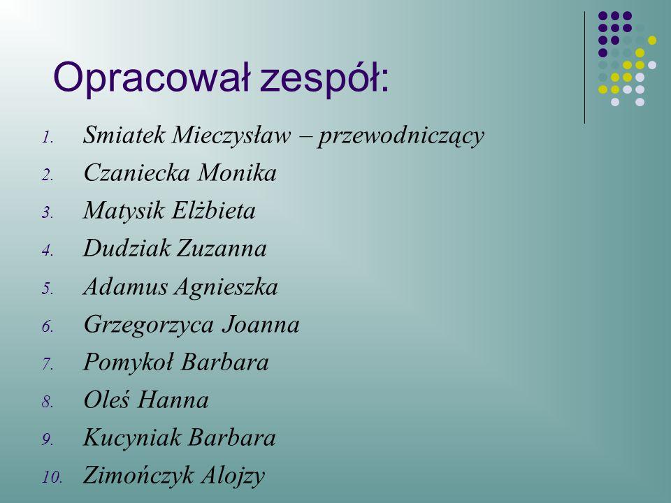 Opracował zespół: Smiatek Mieczysław – przewodniczący Czaniecka Monika