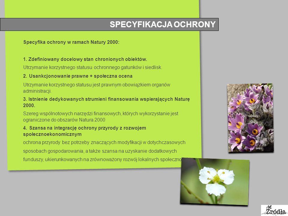 SPECYFIKACJA OCHRONY Specyfika ochrony w ramach Natury 2000: