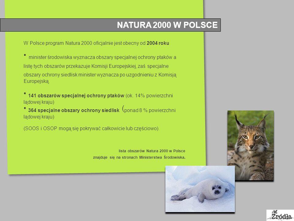 NATURA 2000 W POLSCE W Polsce program Natura 2000 oficjalnie jest obecny od 2004 roku.