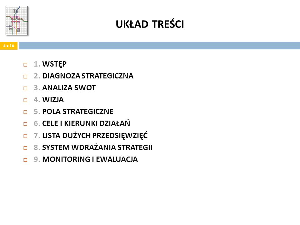 UKŁAD TREŚCI 1. WSTĘP 2. DIAGNOZA STRATEGICZNA 3. ANALIZA SWOT