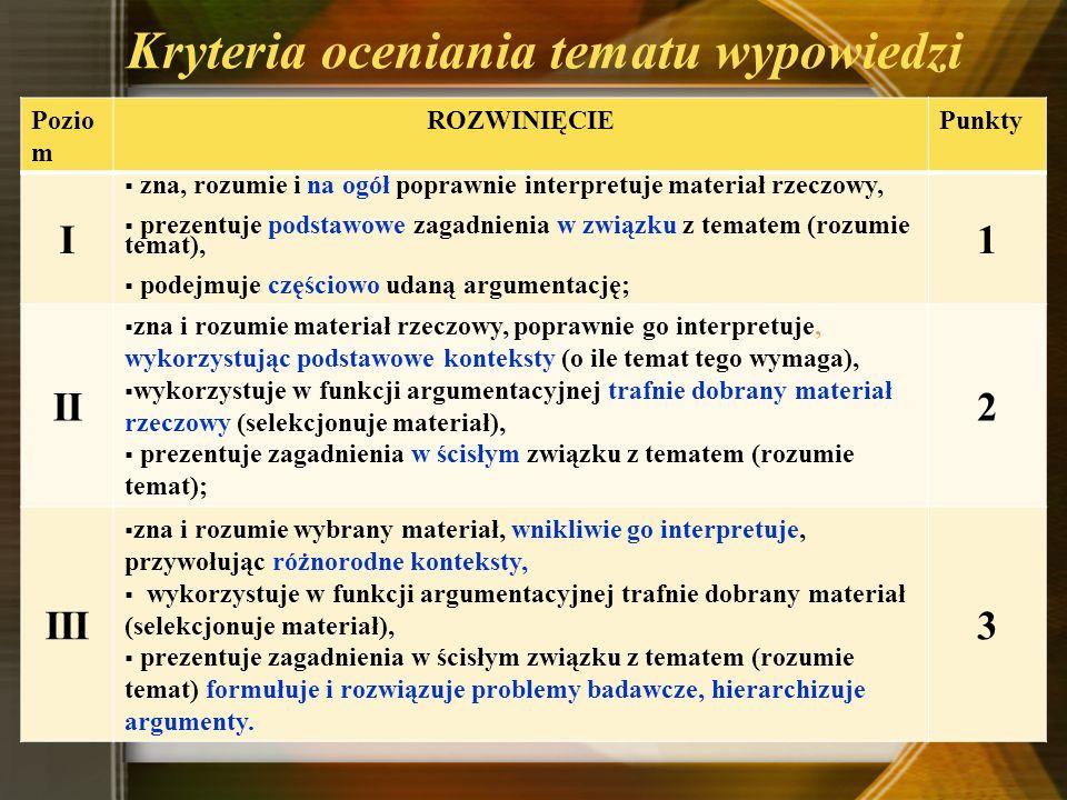 Kryteria oceniania tematu wypowiedzi