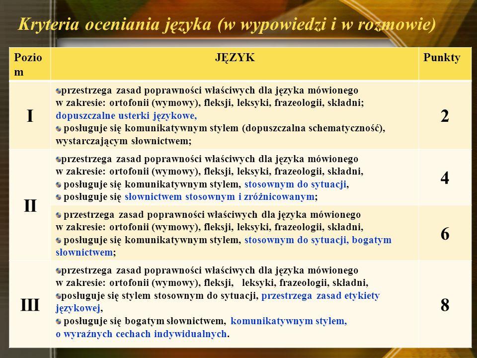 Kryteria oceniania języka (w wypowiedzi i w rozmowie)