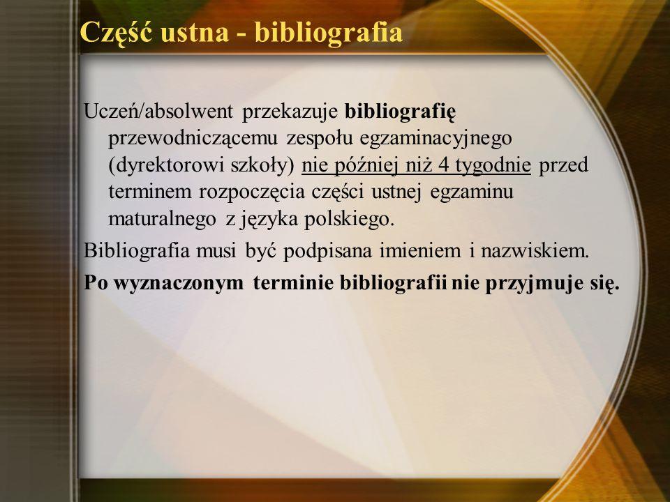 Część ustna - bibliografia