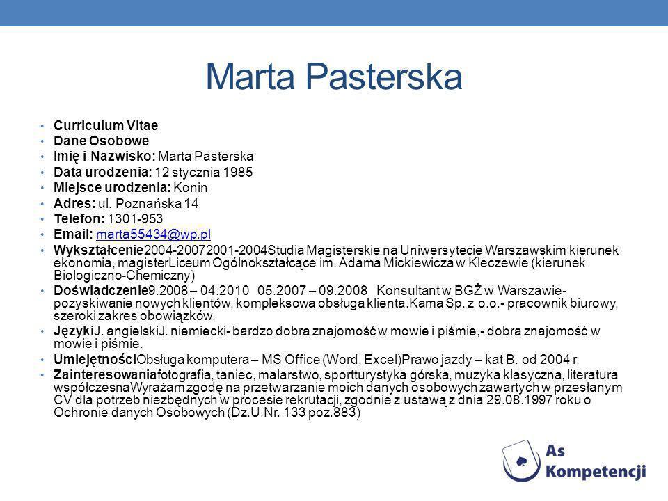 Marta Pasterska Curriculum Vitae Dane Osobowe