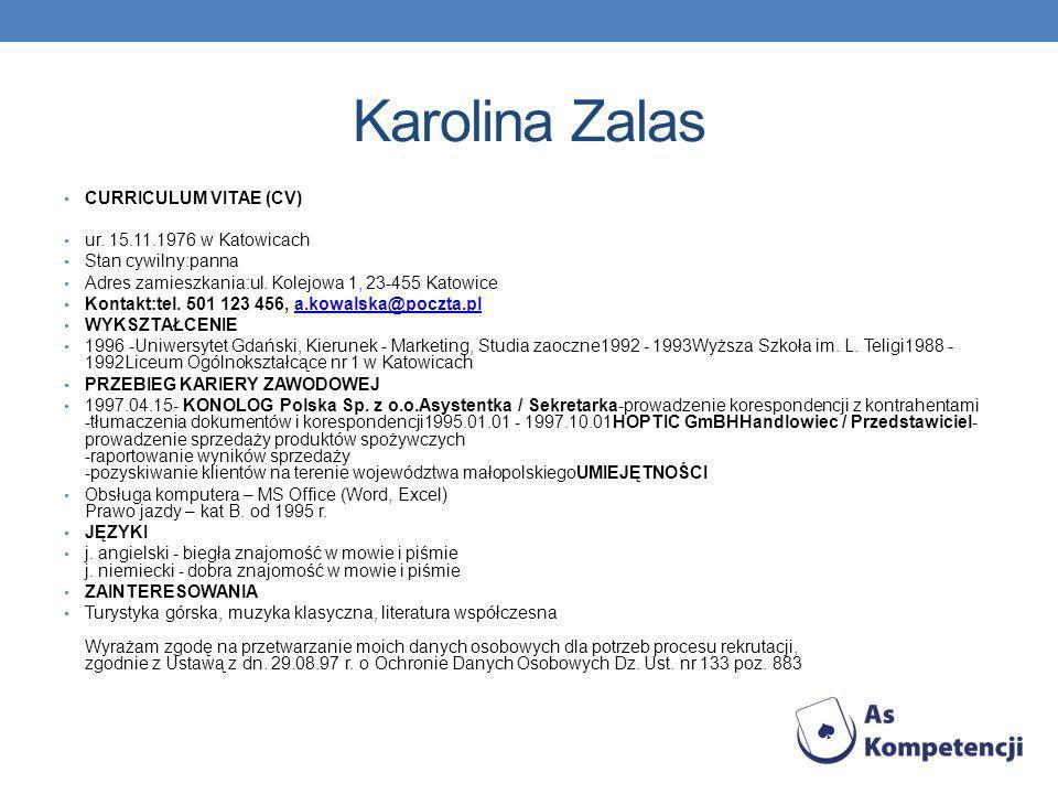 Karolina Zalas CURRICULUM VITAE (CV) ur. 15.11.1976 w Katowicach