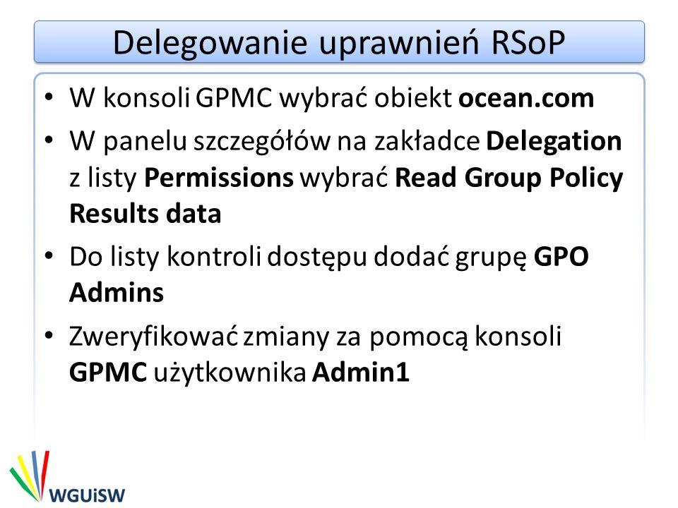 Delegowanie uprawnień RSoP