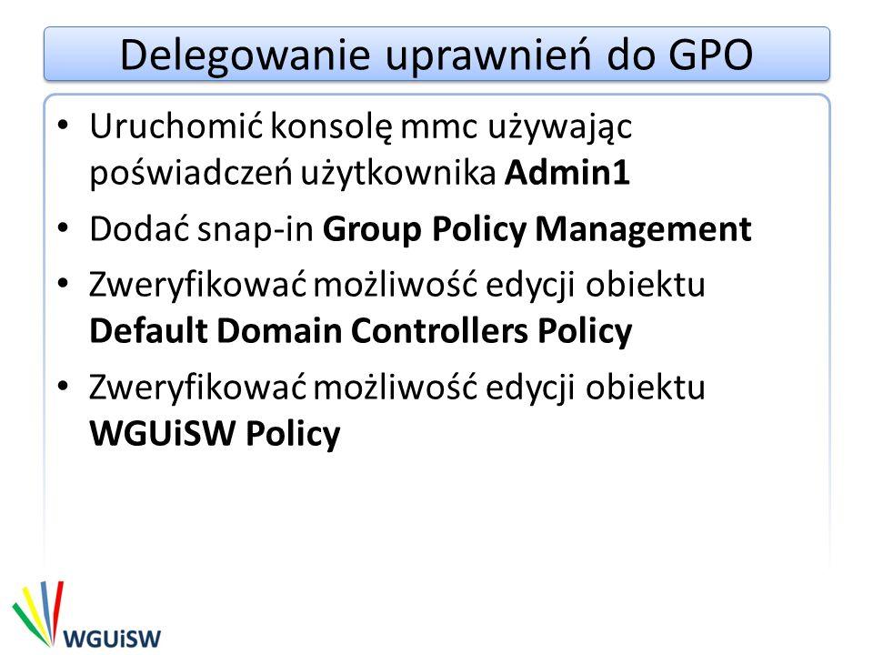 Delegowanie uprawnień do GPO