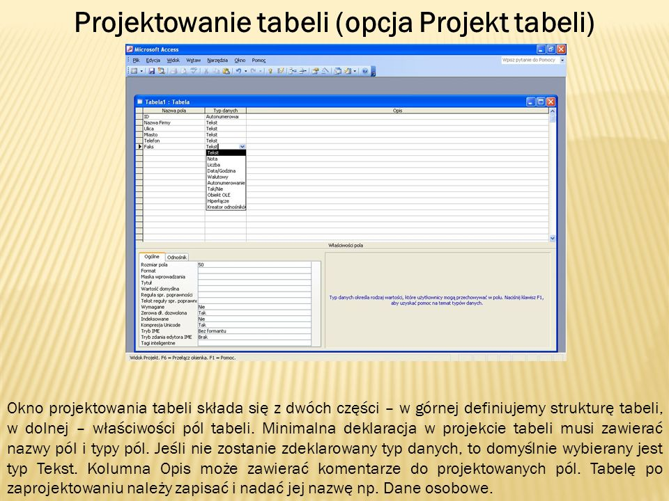 Projektowanie tabeli (opcja Projekt tabeli)