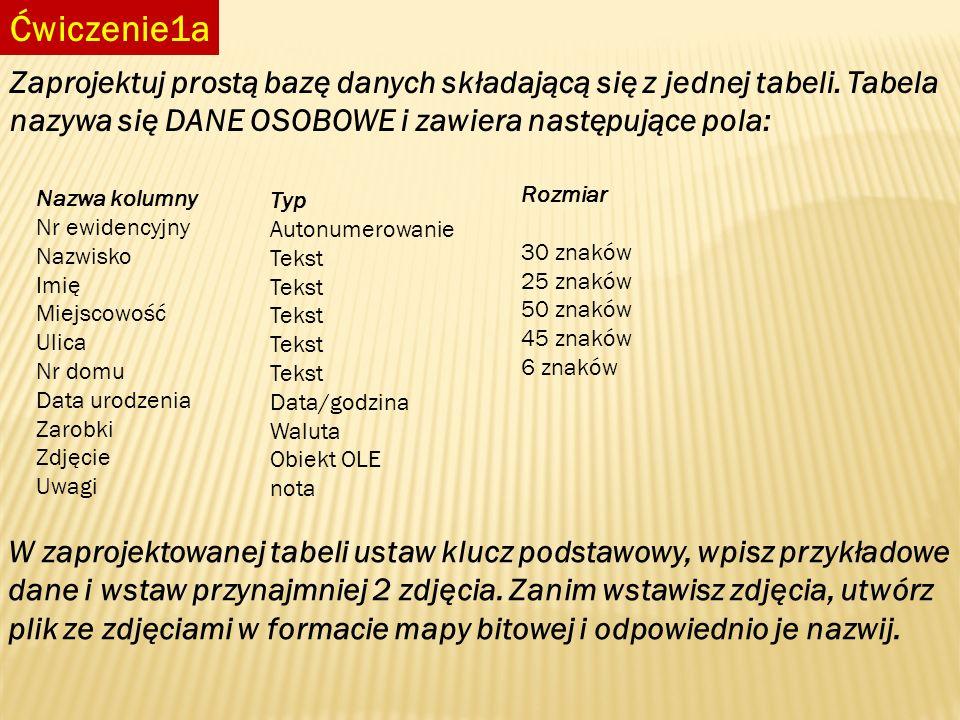 Ćwiczenie1a Zaprojektuj prostą bazę danych składającą się z jednej tabeli. Tabela nazywa się DANE OSOBOWE i zawiera następujące pola: