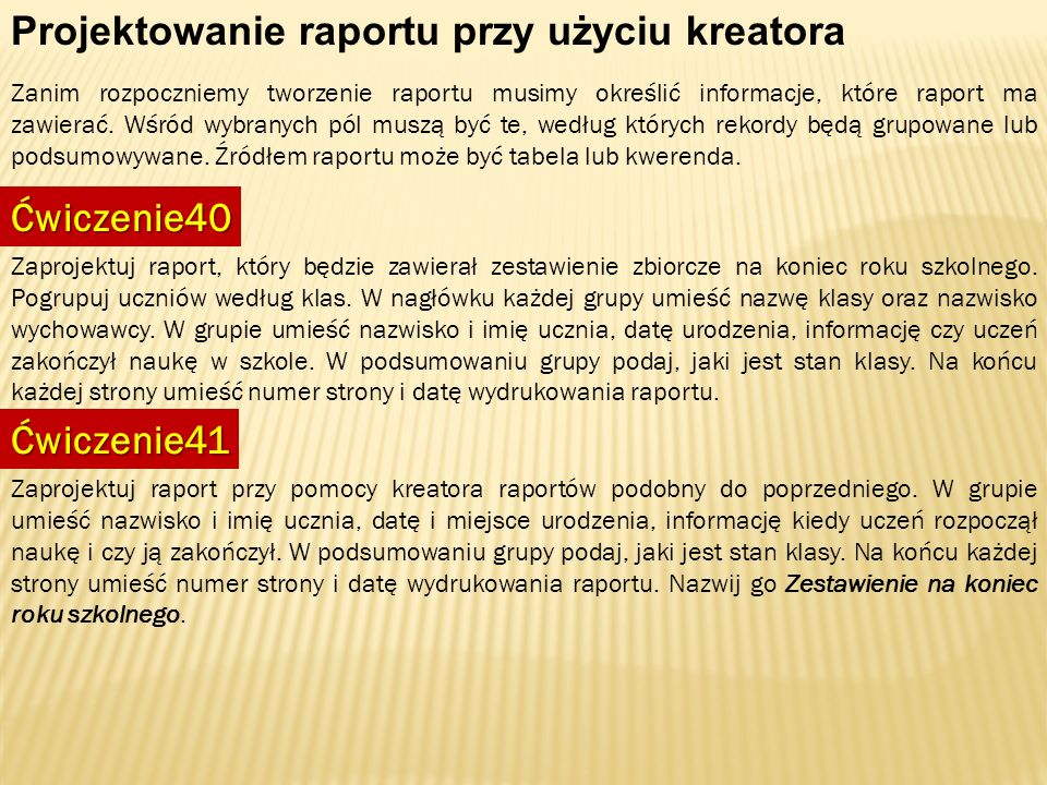 Projektowanie raportu przy użyciu kreatora