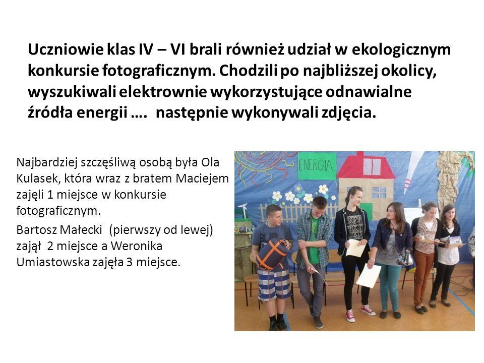 Uczniowie klas IV – VI brali również udział w ekologicznym konkursie fotograficznym. Chodzili po najbliższej okolicy, wyszukiwali elektrownie wykorzystujące odnawialne źródła energii …. następnie wykonywali zdjęcia.