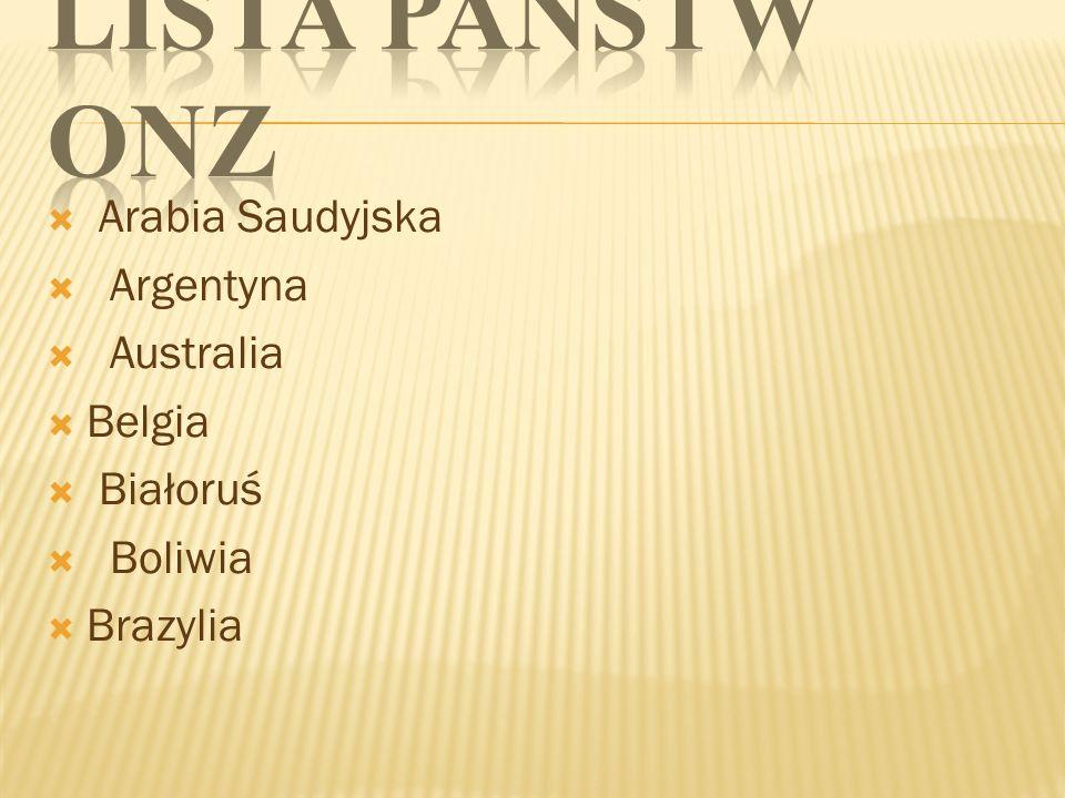 Lista państw ONZ Arabia Saudyjska Argentyna Australia Belgia Białoruś