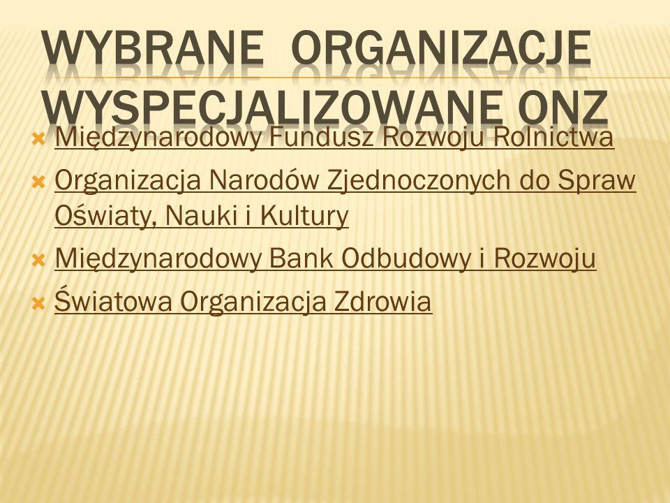 Wybrane Organizacje wyspecjalizowane ONZ