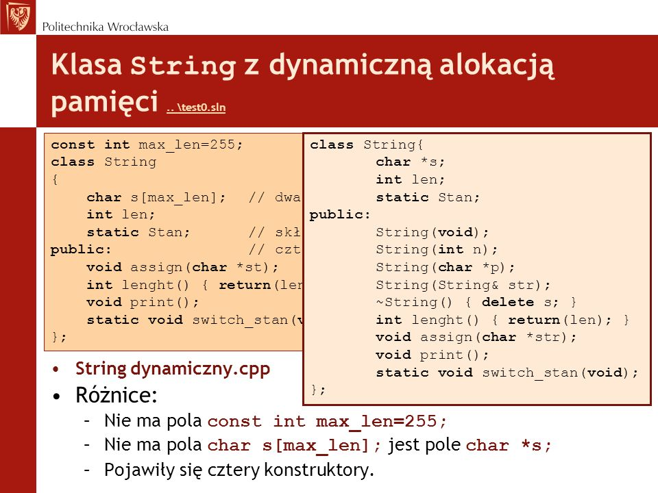 Klasa String z dynamiczną alokacją pamięci .. \test0.sln