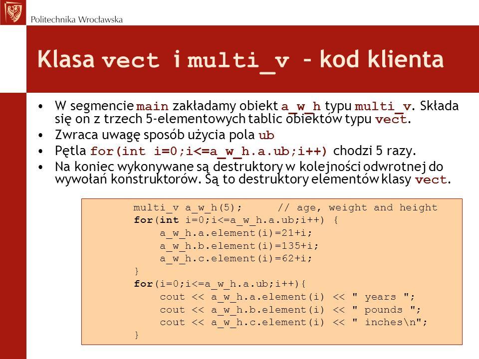 Klasa vect i multi_v – kod klienta